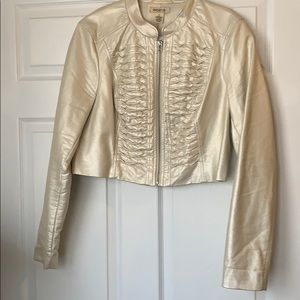 Arden B Cream Pearl Cropped  Jacket